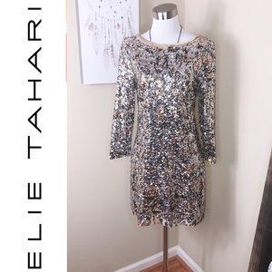 Elie Tahari sequin leopard cocktail dress